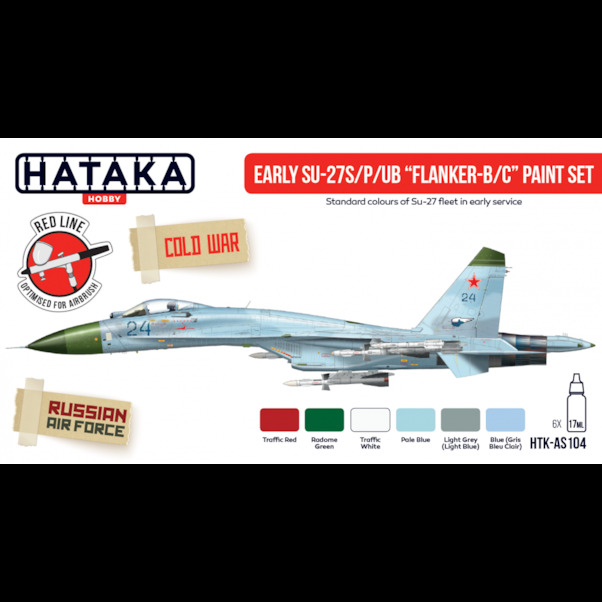 Early Sukhoi Su27S/P/UB Flanker B/C Paint set (6 colours)  HTK-AS104