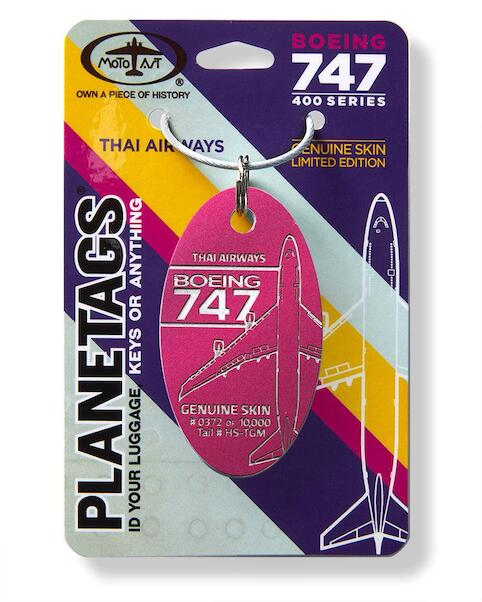 Keychain made of real aircraft skin: Boeing 747 Thai Airways HS-TGM Magenta  B747 THAI MAG