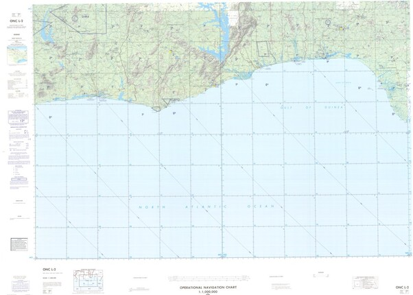 ONC L-2: Available: Operational Navigation Chart for Ivory Coast, Ghana, Togo, Benin, Nigeria. Available ! additional charts available within five working days. E-mail your requirements.  ONC L-2