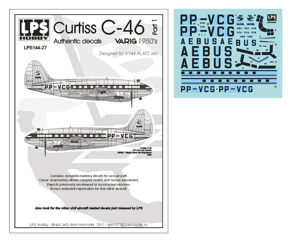 Curtiss C46 Commando  (Varig 1950's)  LPS144-27