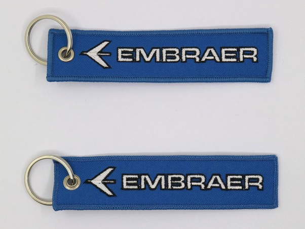 Keyholder with Embraer on both sides, blue background  KEY-EMBRAER