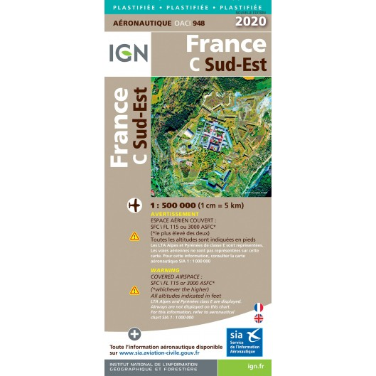 ICAO chart France 944 South East (Sud-Est) Edition 2020  IGN-944