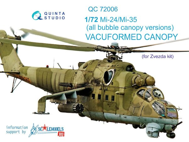 Canopy Mil Mi24/Mi25 Hind All Bubble canopy versions (for Zvezda)  QC72006