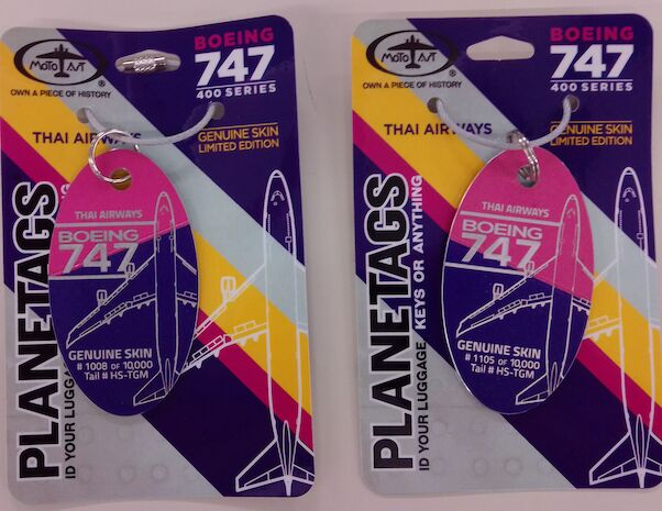 Keychain made of real aircraft skin: Boeing 747 Thai Airways HS-TGM Combo Purple/Magenta  THAI PUR/MAG