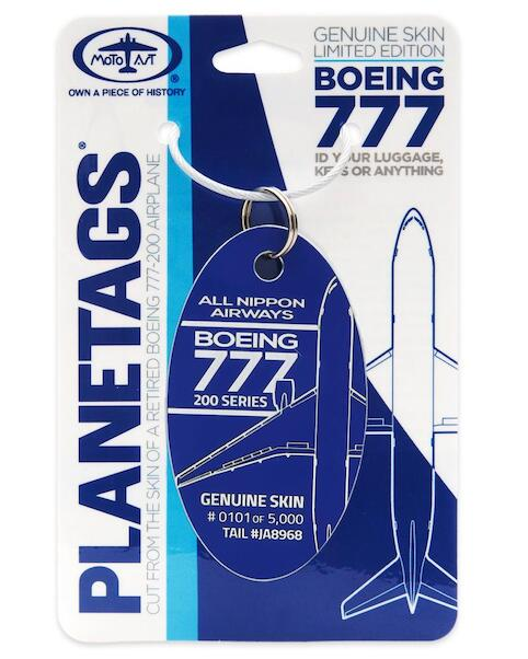 Keychain made of real aircraft skin: Boeing 777-200 ANA All Nippon Airways JA8968  B777ANA