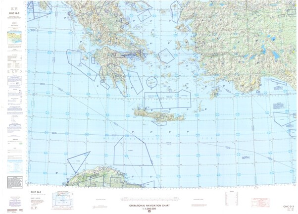 ONC G-3: Available:: Operational Navigation Chart for Greece,Libya,Turkey,Albania. Available ! additional charts available within five working days. E-mail your requirements.  ONC G-3
