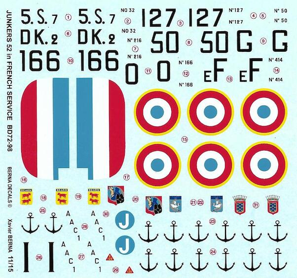 Junkers 52 (AAC-1 'Toucan') French Navy & Air Force (7 schemes)  BD72-98