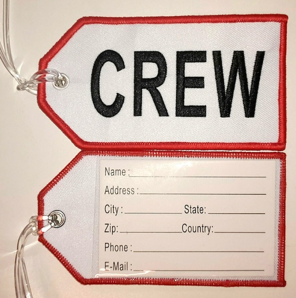 Crew baggage tag (white background)  CREW WHITE