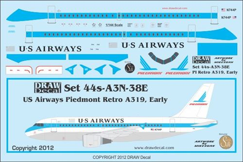 A319 (US Airways Piedmont Retrojet Early)  44-A3N-38E
