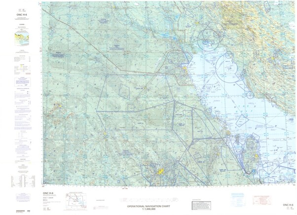 ONC H-6: Available: Operational Navigation Chart for Saudi Arabia, Iraq, Iran. Available ! additional charts available within five working days. E-mail your requirements.  ONC H-6
