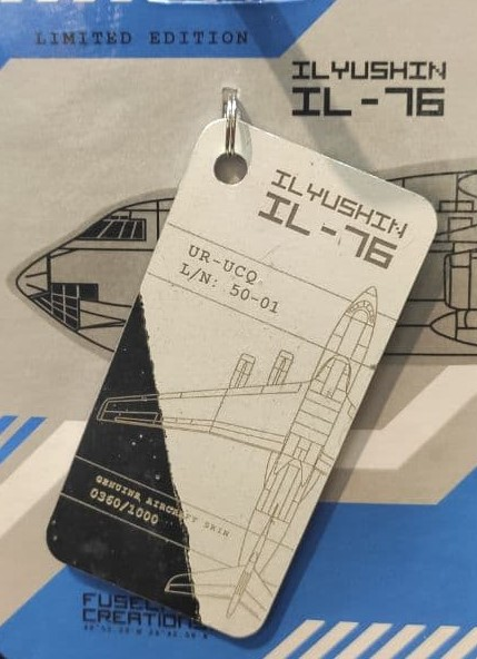 Keychain made of real aircraft skin: Ilyushin IL-76 UR-UCQ white/blue  10004777