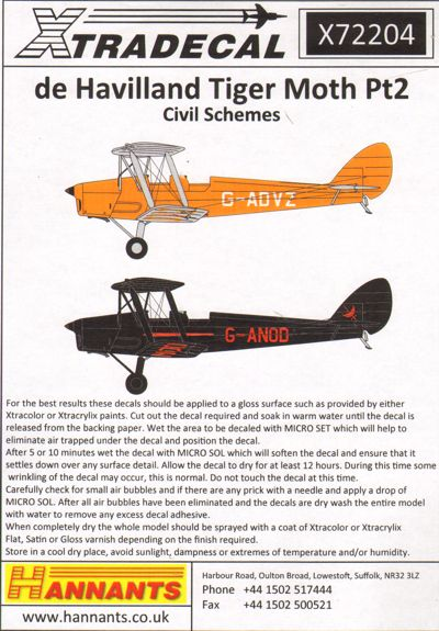 de Havilland DH.82A Tiger Moth Pt 2 in Colourful Civil schemes  X72204