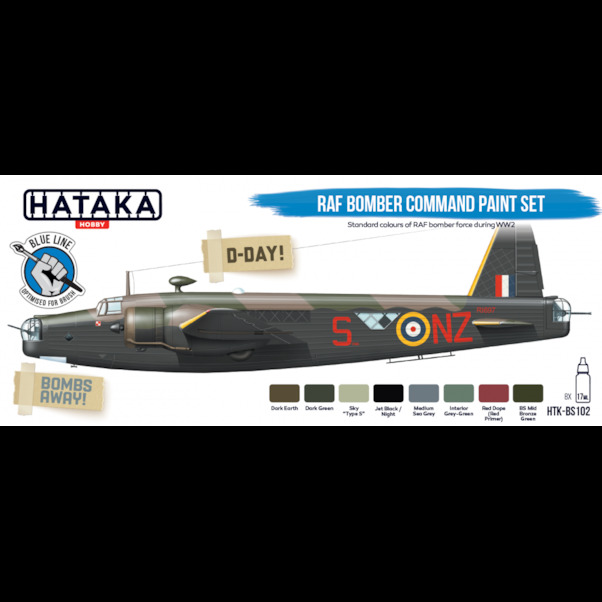 RAF Bomber Command paint set (8 colours) Optimised for Brushpainting  HTK-BS102