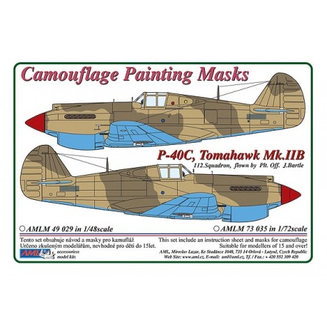 Camouflage Painting masks Curtiss P40C Tomahawk MKIIB (Airfix)  AMLM33024