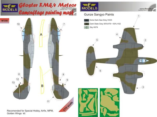 Gloster Meteor F MK4  Camouflage Painting Mask  LFM7256