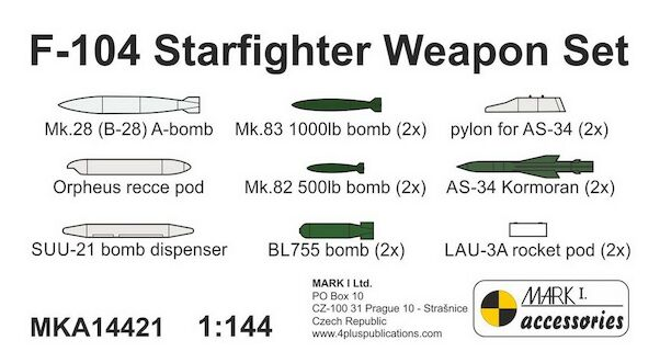 Lockheed F104 Starfighter Weapon Set (resin parts), for MK1  MKA14421