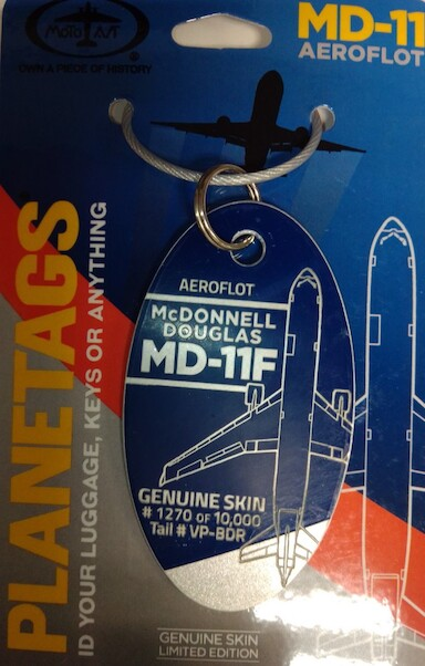 Keychain made of real aircraft skin: McDonnell Douglas MD11F Aeroflot  - VP-BDR (combo Blue Silver colours)  MD-11 BLUE-SIL
