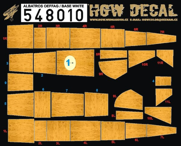 Albatros D.III OEFFAG Wood Panels - BASE WHITE  HGW548010