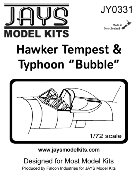 Hawker Typhoon & Tempest Bubble canopy (2x)  jy0331