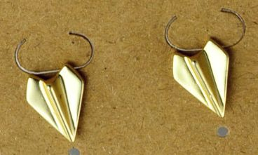 Gold plated matte Paper airplane pair of stud earrings  EAR3289-GOLD