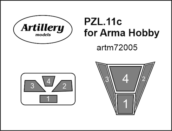 PZL P11c Canopy mask for Arma Hobby kits  ARTM72005