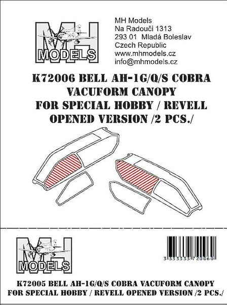 Bell AH1G/Q/S Cobra Vacuform canopy Opened version (2 sets for Special Hobby/Revell)  K72006