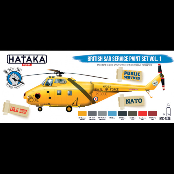 British SAR Service paint set (8 colours) Vol 1 Optimised for Brushpainting  HTK-BS98