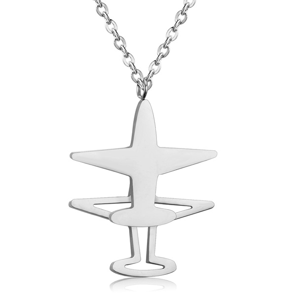 Stainless Steel Steel Color Double Vertical Aircraft Pendant Necklace  NECK STEEL VER