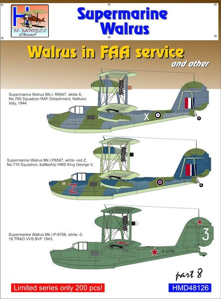 Supermarine Walrus MK 1  part 8:  Walrus in FAA Service and other  HMD72135