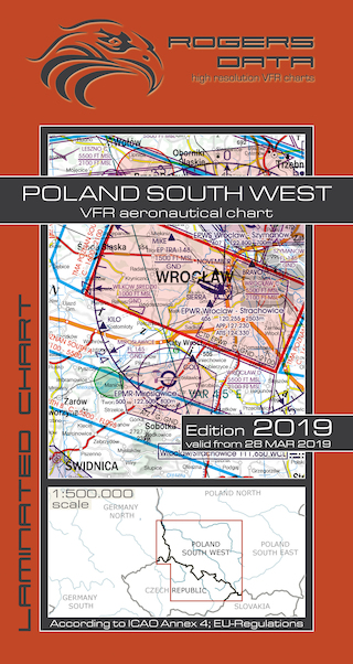 VFR aeronautical chart Poland South West 2019  ROGERS-POL-SW