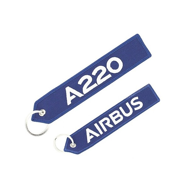 Keyholder (blue) with `Remove Before Flight ` on one side and `A220' on other side  RBF-A220