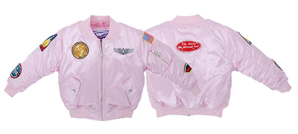 Girl's MA-1 Flight Jacket (7-Patch/Pink) 4 years