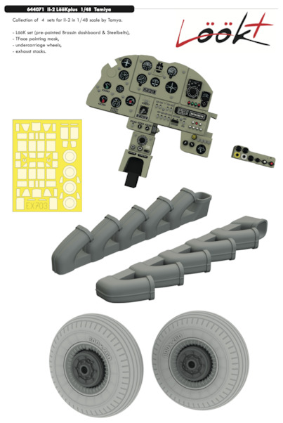 Ilyushin IL2 Löök Plus Instrument Panel, wheels, Exhaust stacks  and seatbelts (Tamiya)  E644071