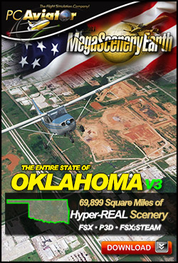Mega Scenery Earth Version 3, Oklahoma V3 (Download version)  DL-MSEV3-OK