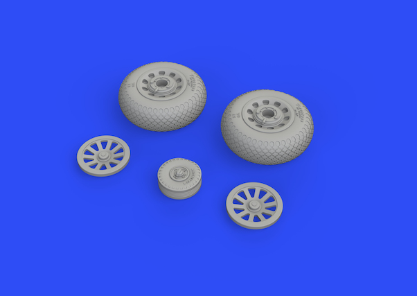 P51D Mustang Wheels with Cross Tread (Eduard)  E648504