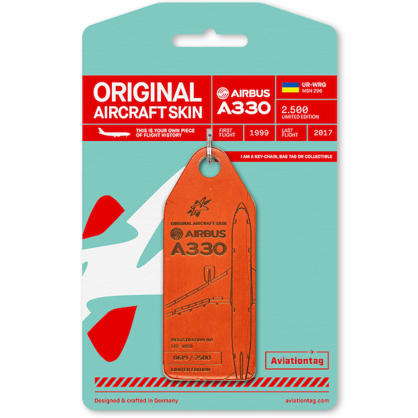 Keychain made of real aircraft skin: Airbus A330 Windrose UR-WRQ (orange)