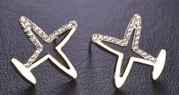 Aircraft Copper Rhinestones pair of Stud Earrings gold plated  EAR291-GOLD