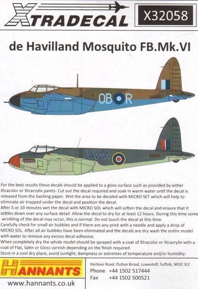 de Havilland Mosquito FB Mk VI (Xtra-decal x32058)