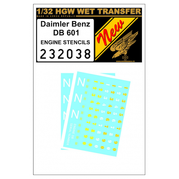 Wet Transfer Engine Stencils for Daimler Brenz DB601 engine  HGW232038