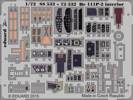 Detailset Heinkel He111P Interior self adhesive (Airfix)  SS532