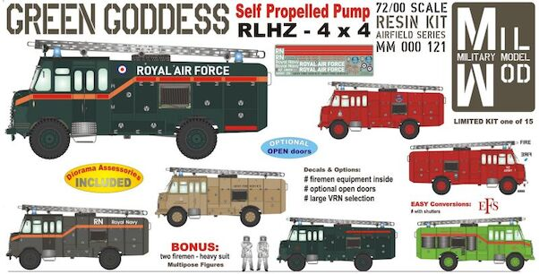 Bedford RLHZ Green Goddess Self Propelled Pump 4 x 2  (RAF Fire Service) - Figures & fire equyipment  MM000-121