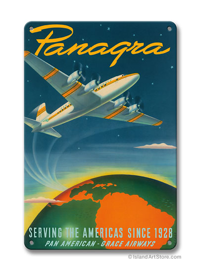 Panagra - Serving the Americas Since 1928 - Pan American - Grace Airways - c. 1949 Vintage metal poster metal sign  MTSA8093