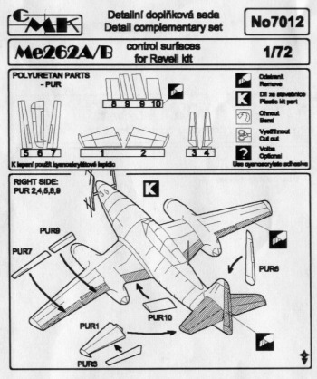 Me262 Control surfaces (Revell)  CMKA7012