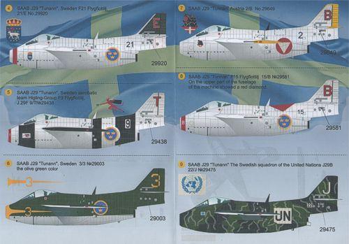 Print Scale Decals 1//48 SAAB J-29 TUNNAN Swedish Jet Fighter