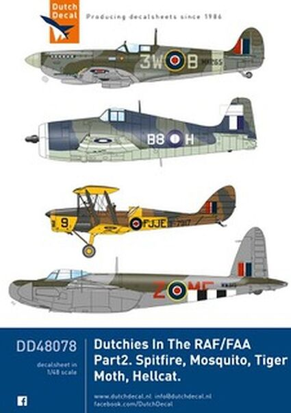 Dutchies in the RAF/FAA part 2 (Spitfire, Tiger Moth, Mosquito, Hellcat)  DD48078