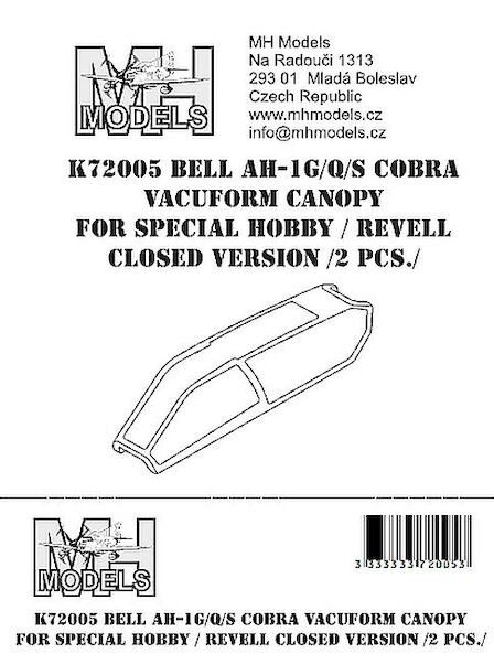 Bell AH1G/Q/S Cobra Vacuform canopy Closed (2 sets for Special Hobby/Revell)  K72005