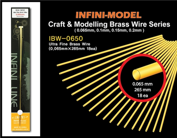 Ultra fine brass wire (0,065mm) 18 strands of 265mm  ibw-0650