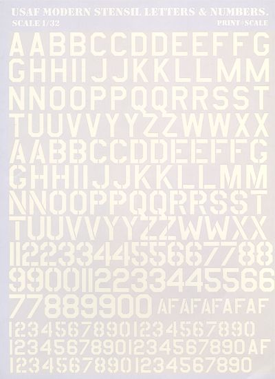 USAF Modern Stencil Letters And Numbers White - Decal numbers lettersusaf modern stencil lettersnumbers whitedecal