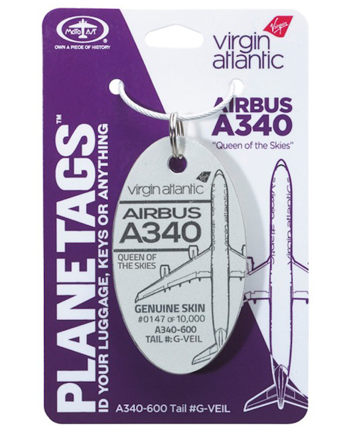 Keychain made of real aircraft skin: Airbus A340-600 G-VEIL Virgin Atlantic 'Queen of the Skies' (white)  0763961286189