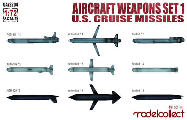 Aircraft Weapons set 1 U.S. Cruise Missiles (AGM86, AGM109, AGM129)  UA72204